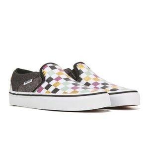 Vans: Slip on Glitter Chex Skate Shoe